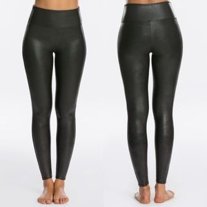 SPANX Faux Leather Leggings High Rise Black S